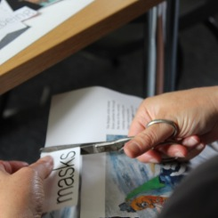 Julie 'doing' collage